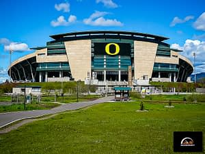 Example of J&S Masonry's masonry construction at Autzen stadium at the University of Oregon on a sunny day